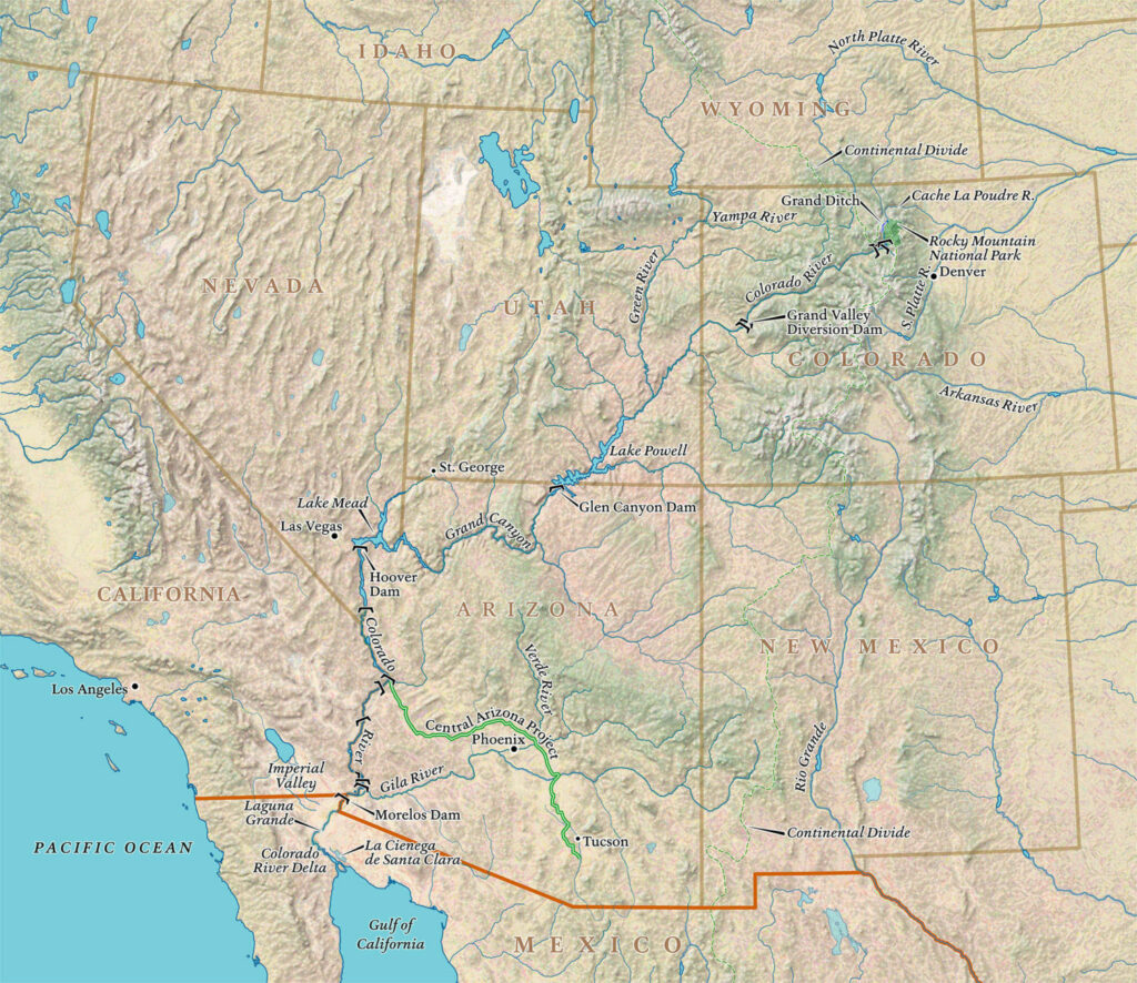 The Colorado flows 1,450 miles from its source in Colorado to the southwest, ending just short of the Gulf of California. Map by David Lindroth