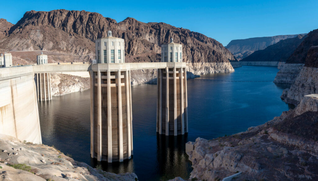 Water levels in Lake Mead at the Hoover Dam in Nevada have hit an all-time low.