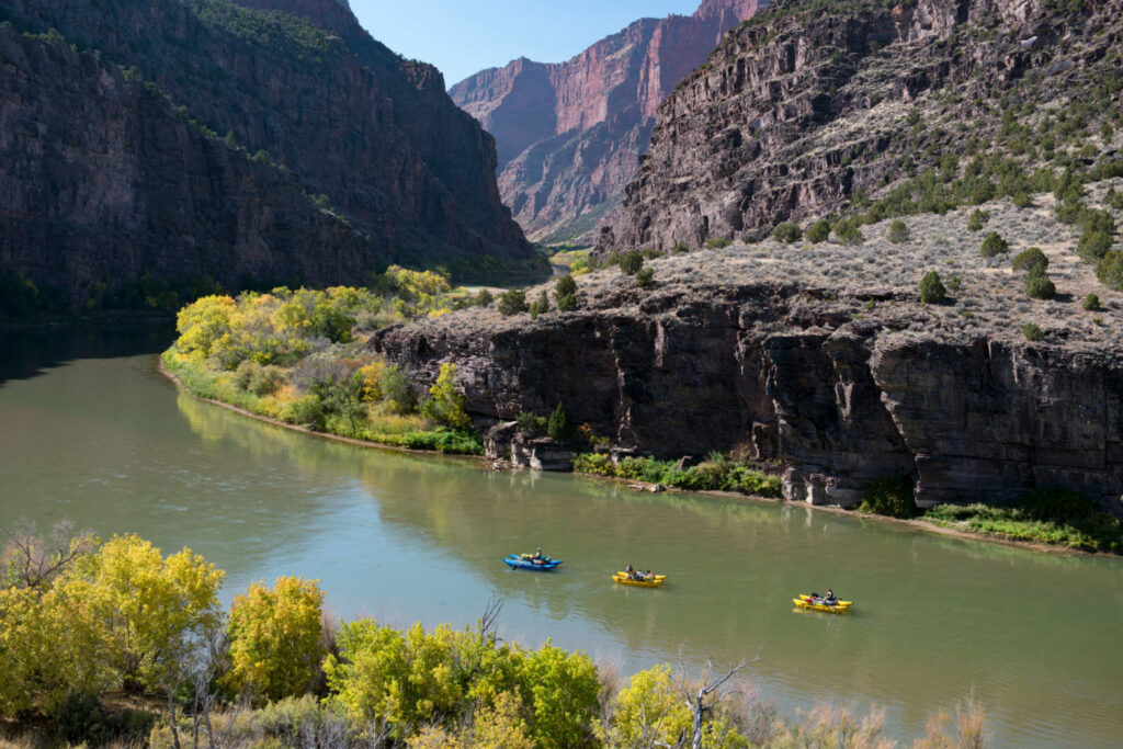 Kayakers on the Green River, a main stem of the Colorado, at the Gates of Lodore in northwest Colorado. Low water levels have forced some bans on recreational uses. PHOTO BY TED WOOD