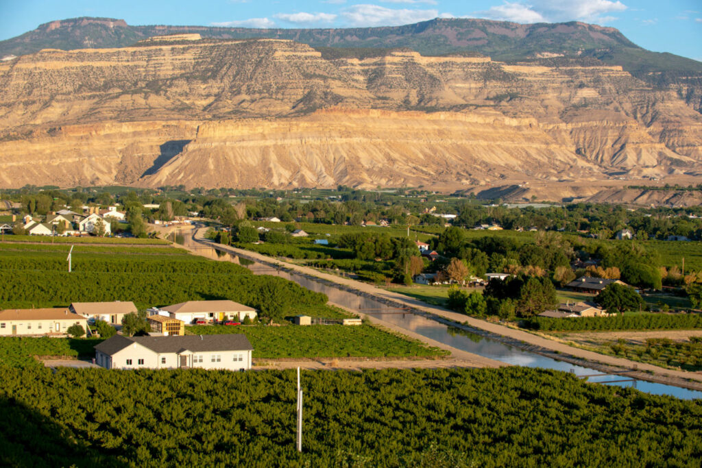 A canal diverts water from the Colorado River to farms in Palisade, Colorado. TED WOOD