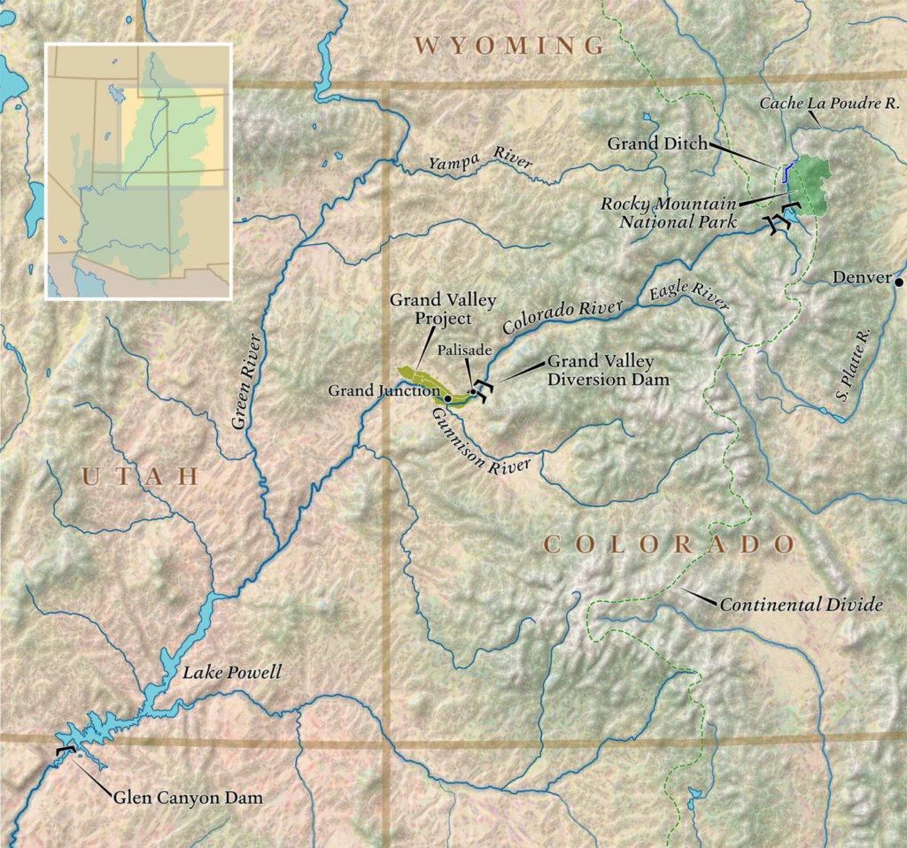 The Grand Valley, a major agricultural zone in western Colorado, depends on water from the Colorado River. MAP BY DAVID LINDROTH