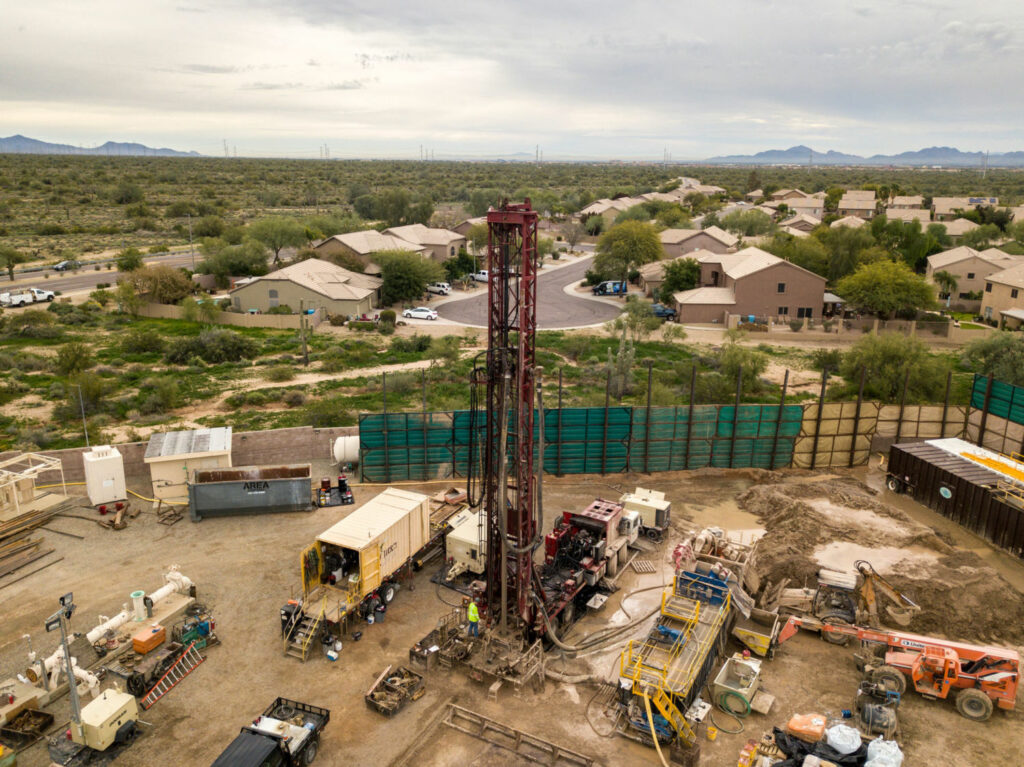 An aquifer storage and recovery well being drilled in the Desert Ridge neighborhood of North Phoenix. When complete, the well, which will support 10,000 homes, will be used to either store water 1,540 feet underground or pull it back up when surface supplies run low. PHOTO BY TED WOOD