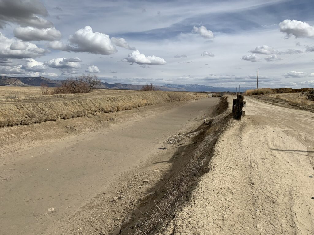 The Government Highline Canal, seen here just before its filled for irrigation season, irrigates farmland in the Grand Valley near the Utah state line. Some Grand Valley irrigators may welcome the chance to be paid to leave water in the Colorado River.
