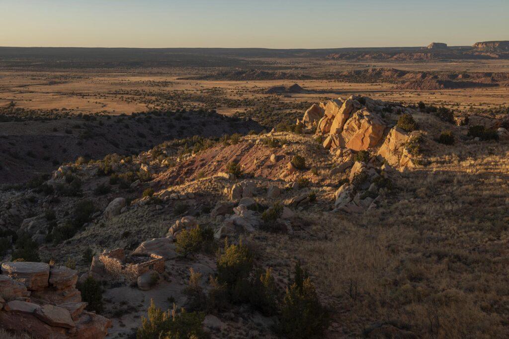 A prehistoric Zuni farming plot on a mesa near Zuni Pueblo, New Mexico.