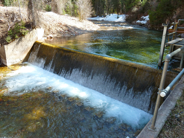 Diversion dam on Castle Creek