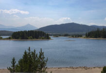 Low water levels Aug. 18 at Dillon Reservoir expose sand rings around the lake's islands.