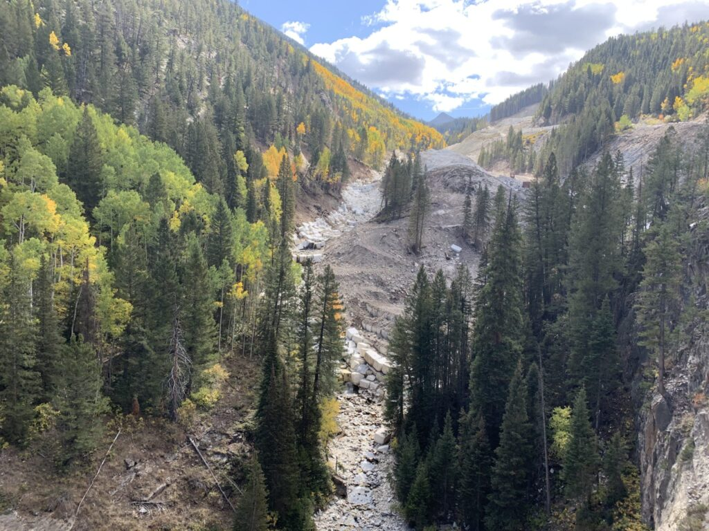 This photo from September 2020 shows how quarry operators moved Yule Creek into a channel lined with marble blocks. Pitkin County groups are concerned the creek diversion could have downstream impacts.