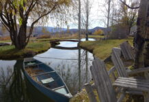 Canoe at pond without water rights