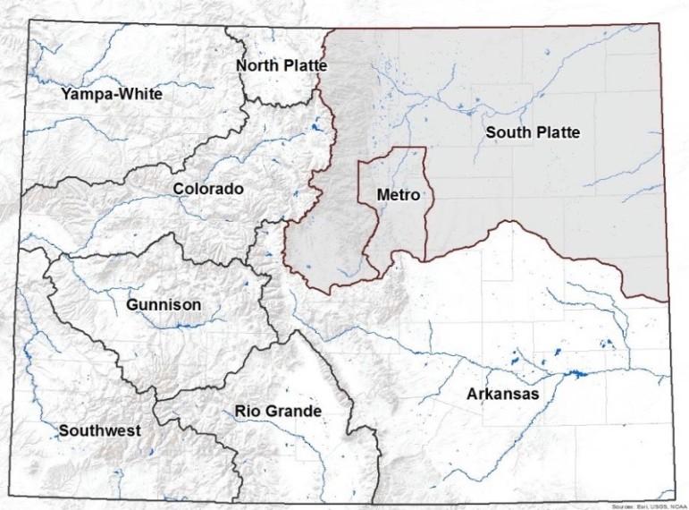 River asins of Colorado map