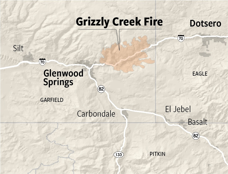 Grizzly Creek fire map
