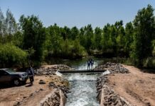 Environmental release flows into the El Chausse restoration site photo