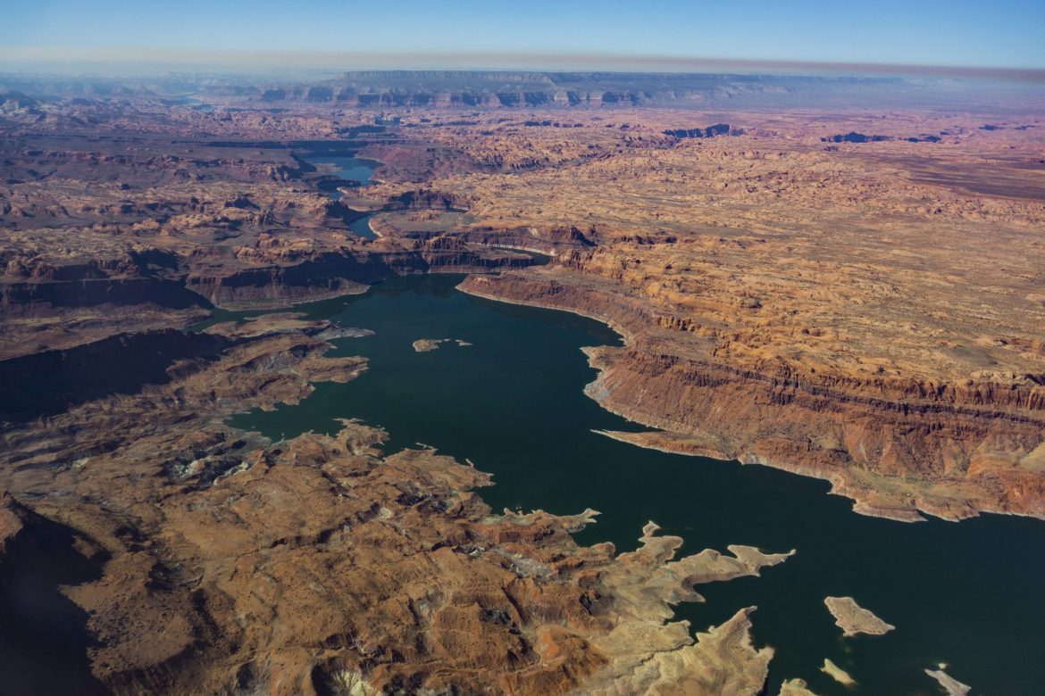 Lake Powell is seen in a November 2019 aerial photo from the nonprofit EcoFlight. Data that shows streamflows are declining more in the southern part of the upper Colorado River basin could influence how the state of Colorado develops a program that would pay water users to use less and send the saved water downstream to Lake Powell. CREDIT:ECOFLIGHT